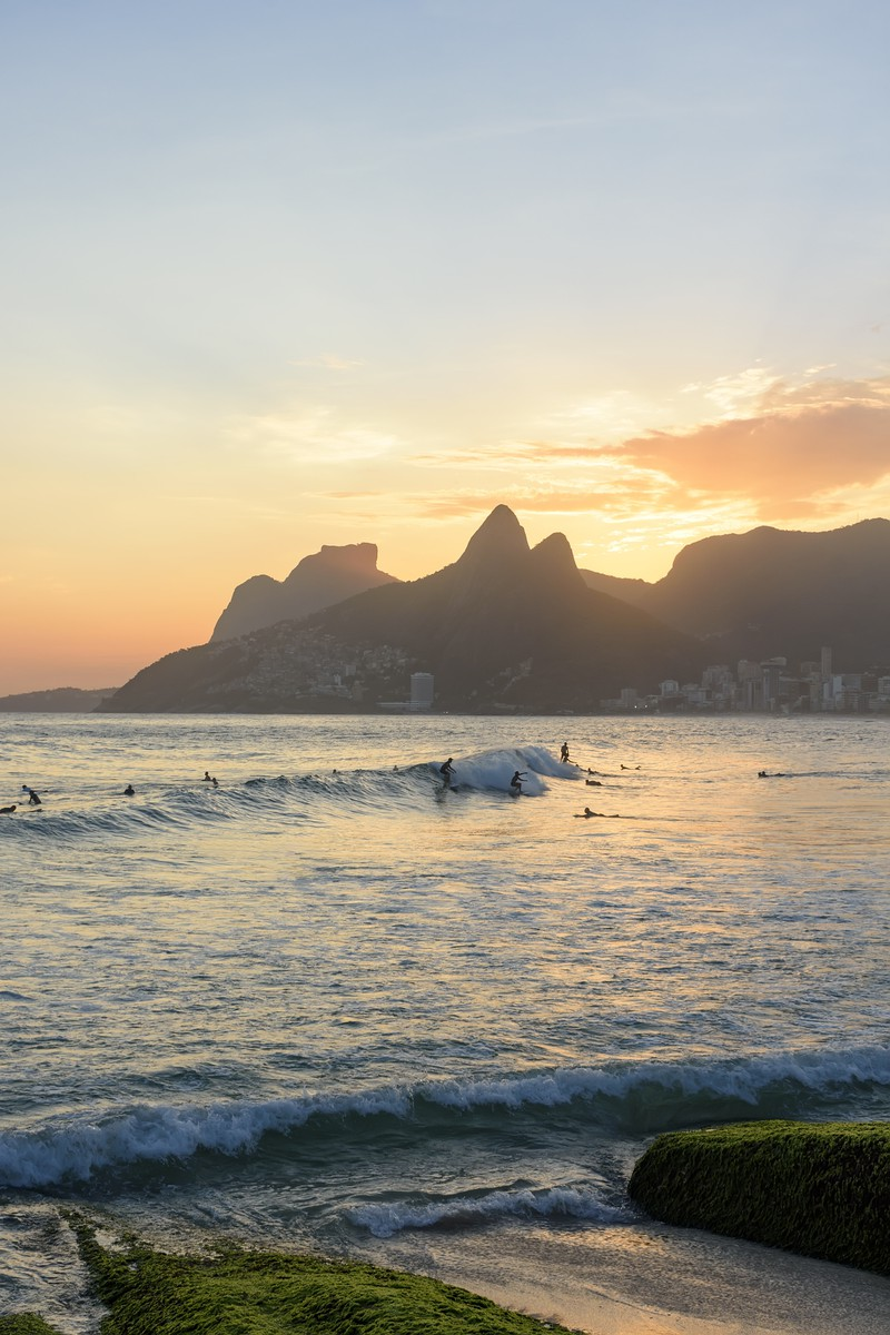 Der Arpoador Rock beim Sonnenuntergang