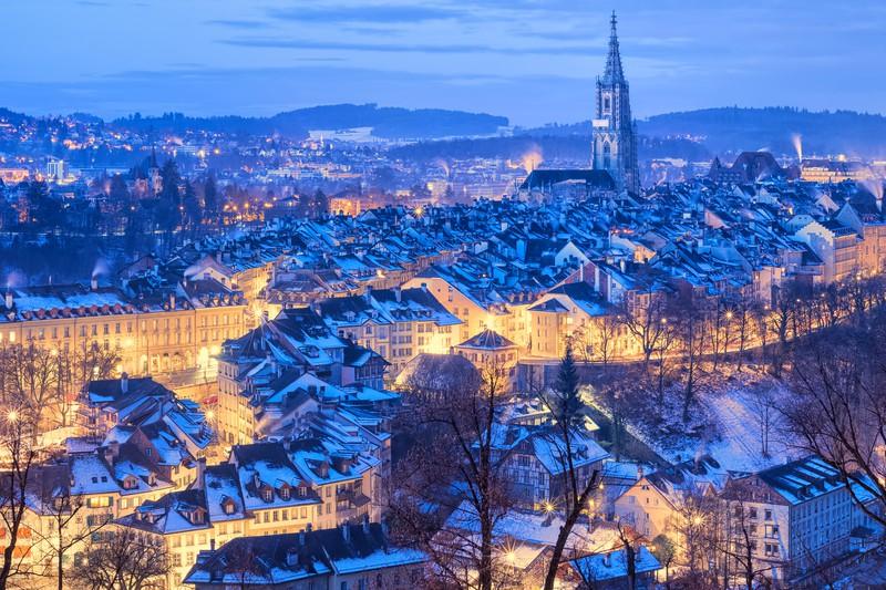 Berner Altstadt Schnee im Winter