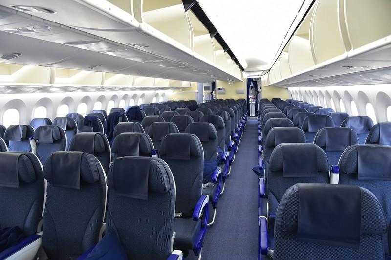Man sieht die Reihen im Flugzeug, wo aber die Reihe 13 und Reihe 17 fehlen, da sie Unglück und Pech versprechen