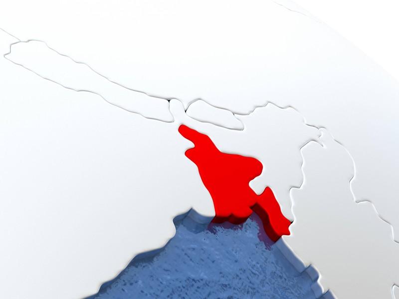 Die Umrisse eines Landes in rot