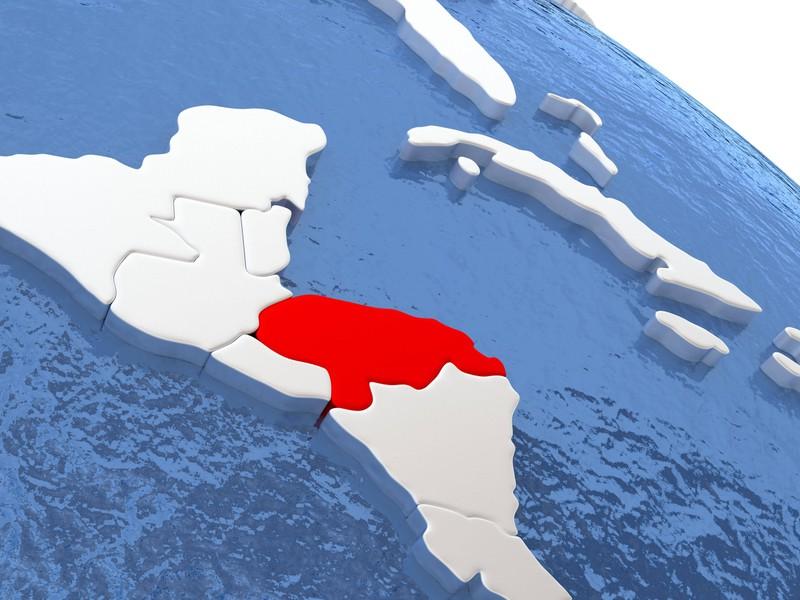 Ein Land in Südamerika nur der Umriss zu sehen