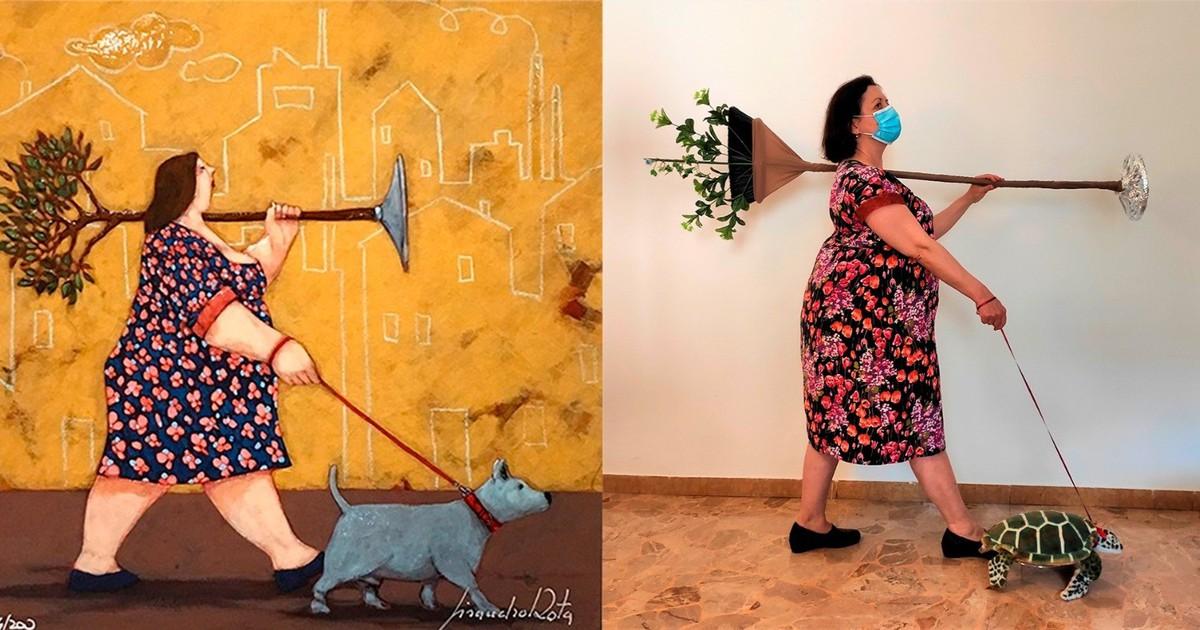 Beliebte Kunstwerke von Menschen nachgestellt