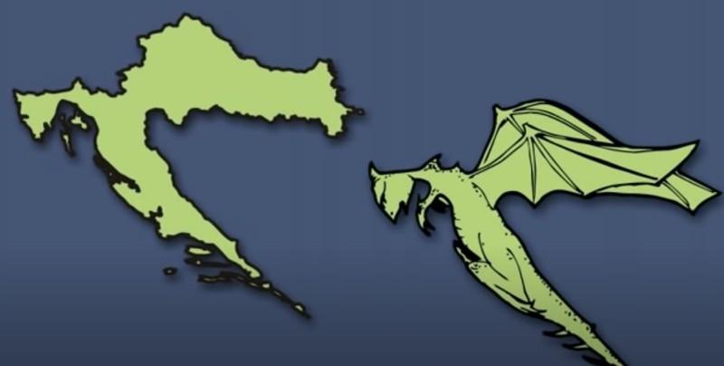 Die Umrisse deuten bei dem europäischen Land auf einen Drachen hin.