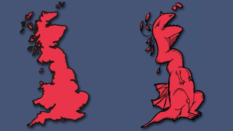 Großbritannien sieht aus wie ein Drache.