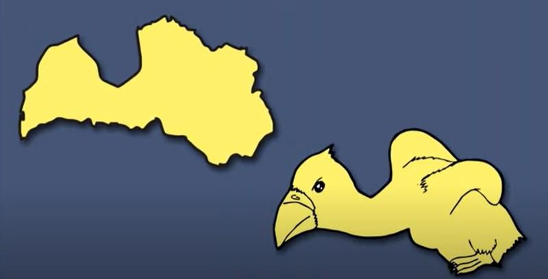 Lettland zeigt einen Baby-Vogel, wobei es dabei laut Künstler um einen Adler oder Geier handeln könnte.