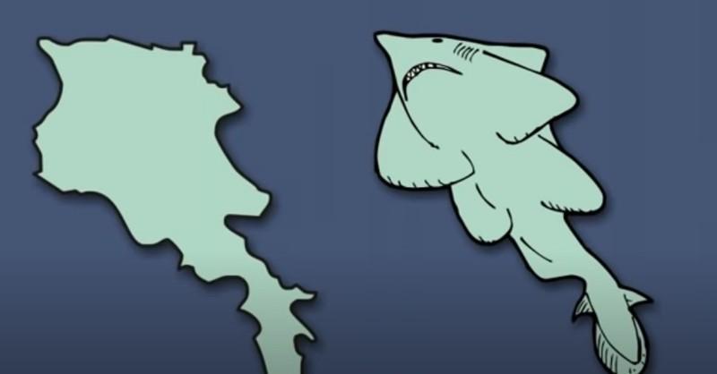 Mit viel Fantasie sieht man in dem europäischen Land einen Haifischumriss.