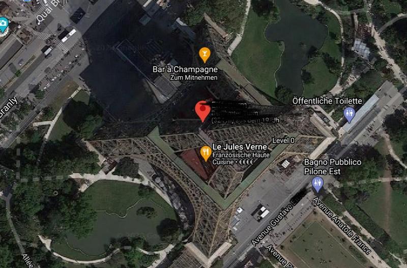 Auf dem Satellitenbild ist eine bekannte Sehenswürdigkeit.